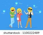 emoji heads concept vector... | Shutterstock .eps vector #1100222489