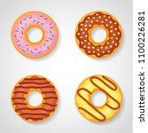 set of sweet glazed donuts...   Shutterstock .eps vector #1100226281