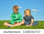 happy blond children boy and... | Shutterstock . vector #1100231717