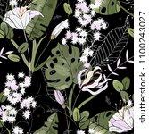 retro wild seamless flower... | Shutterstock .eps vector #1100243027