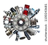 auto spare parts around clutch... | Shutterstock . vector #1100243681