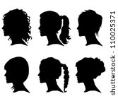vector set of woman silhouette... | Shutterstock .eps vector #110025371