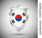 south korea flag on metal shiny ... | Shutterstock .eps vector #1100256644