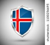 iceland flag on metal shiny... | Shutterstock .eps vector #1100256695