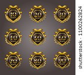 set of gold anniversary badges... | Shutterstock .eps vector #1100262824