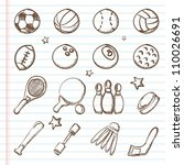 sports icons doodles | Shutterstock .eps vector #110026691