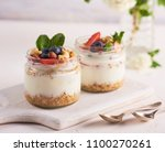 homemade greek yogurt with... | Shutterstock . vector #1100270261