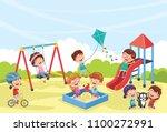 vector illustration of children ... | Shutterstock .eps vector #1100272991