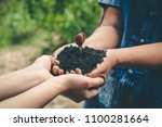 planting forests to reduce... | Shutterstock . vector #1100281664