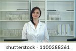 female hospital receptionist...   Shutterstock . vector #1100288261