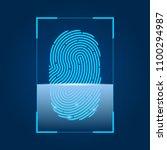 fingerprint scanning. concept... | Shutterstock .eps vector #1100294987