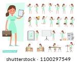 worker woman character vector...   Shutterstock .eps vector #1100297549