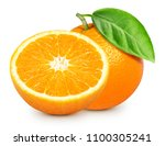 ripe orange isolated on white... | Shutterstock . vector #1100305241