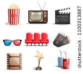 set of 3d realistic cinema... | Shutterstock .eps vector #1100313887