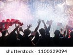 patriotic holiday. silhouettes... | Shutterstock . vector #1100329094