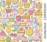 seamless background of sweet... | Shutterstock .eps vector #1100343164
