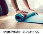 girl at a yoga class | Shutterstock . vector #1100344727