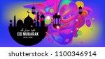 eid mubarak greeting card... | Shutterstock .eps vector #1100346914