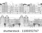 two hand drawn seamless city... | Shutterstock .eps vector #1100352767