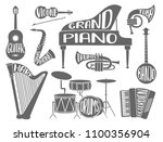set of musical instruments with ... | Shutterstock .eps vector #1100356904
