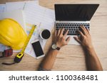 architect man working with... | Shutterstock . vector #1100368481