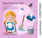 cute cartoon vector maid and... | Shutterstock .eps vector #1100374469