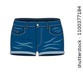 women's clothing denim shorts.... | Shutterstock .eps vector #1100377184