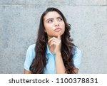thinking latin american woman...   Shutterstock . vector #1100378831