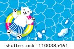 polar bear playing by the... | Shutterstock .eps vector #1100385461
