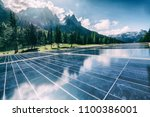 solar panel on building in... | Shutterstock . vector #1100386001