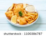 fish and chips with french... | Shutterstock . vector #1100386787