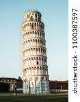leaning tower of pisa in pisa ... | Shutterstock . vector #1100387597