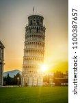 leaning tower of pisa in pisa ... | Shutterstock . vector #1100387657