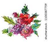 vintage vector floral... | Shutterstock .eps vector #1100387759