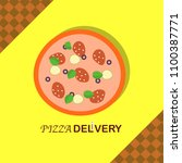 pizza delivery illustration in...   Shutterstock .eps vector #1100387771