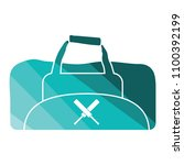 cricket bag icon. flat color...
