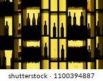 wine bottles on a shelf... | Shutterstock . vector #1100394887