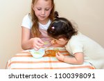 close up portrait of  two funny ... | Shutterstock . vector #1100398091