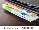 open wallet with euro cash 10... | Shutterstock . vector #1100405081