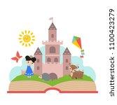 imagination concept. open book...   Shutterstock .eps vector #1100423279