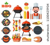 barbecue  grill. set of... | Shutterstock .eps vector #1100425934