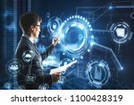 businessman with digital... | Shutterstock . vector #1100428319