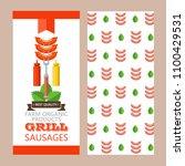 grill  barbecue. delicious...   Shutterstock .eps vector #1100429531