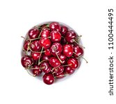 top view bowl with cherry... | Shutterstock . vector #1100444495