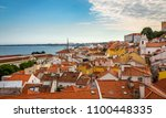 lisbon  portugal cityscape at... | Shutterstock . vector #1100448335