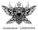 screaming mystical raven | Shutterstock . vector #1100451944