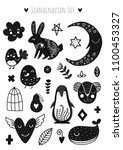 scandinavian doodles elements.... | Shutterstock .eps vector #1100453327