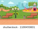 city park with a bench ... | Shutterstock .eps vector #1100453831