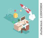 startup vector 3d flat... | Shutterstock .eps vector #1100453834