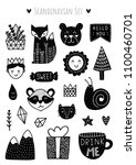 scandinavian doodles elements.... | Shutterstock .eps vector #1100460701